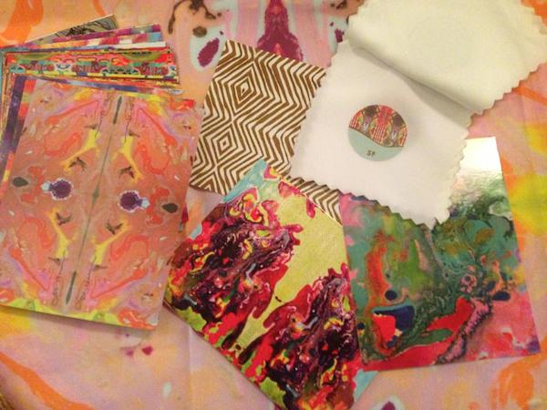 Work table collage of Original Art Fabric by Kim Duease
