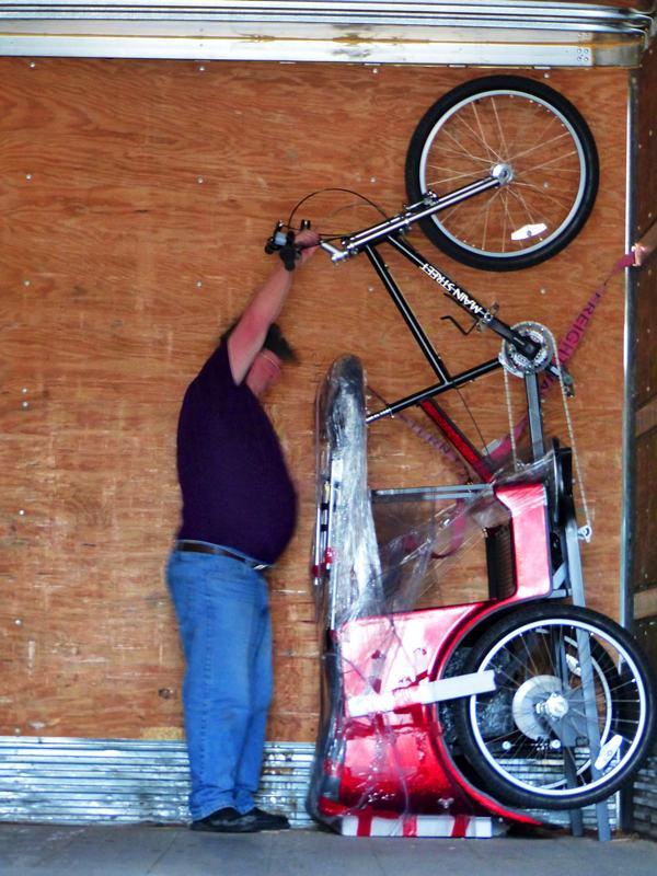 Truck driver Darrel unloading the DB Pedicab
