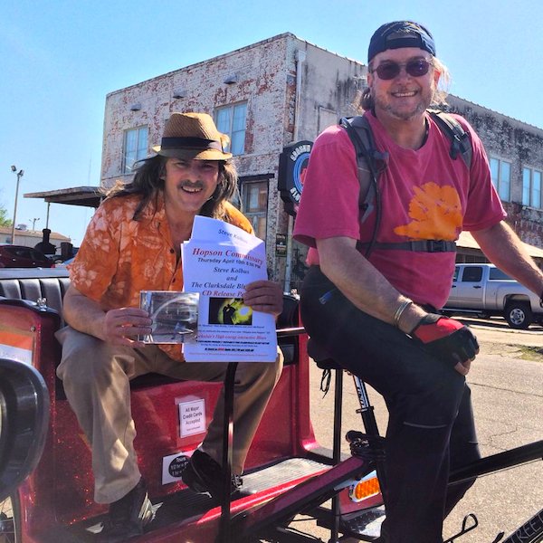 Musician Steve Kolbus riding on DB Pedicab with Billy Howell