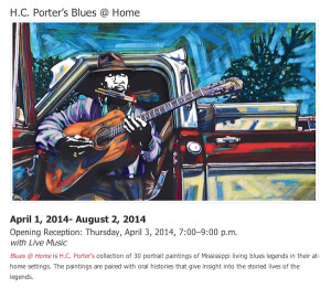 HC PORTER Blues at Home exhibit and reception at U of MS Museum in Oxford