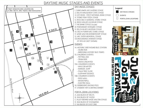 Clarksdale Juke Joint Festival Lineup and Map 2014