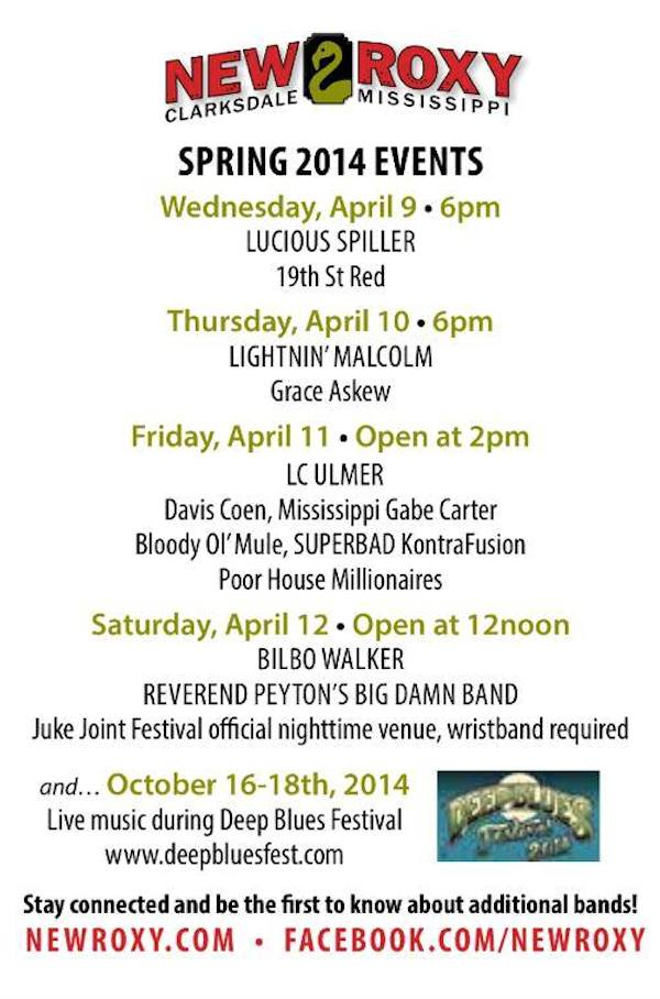 NEW ROXY EVENTS for Juke Joint Festival 2014