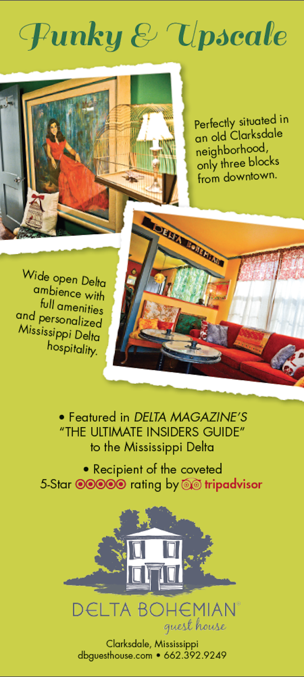 Delta Bohemian Guest House in Clarksdale - rack card back