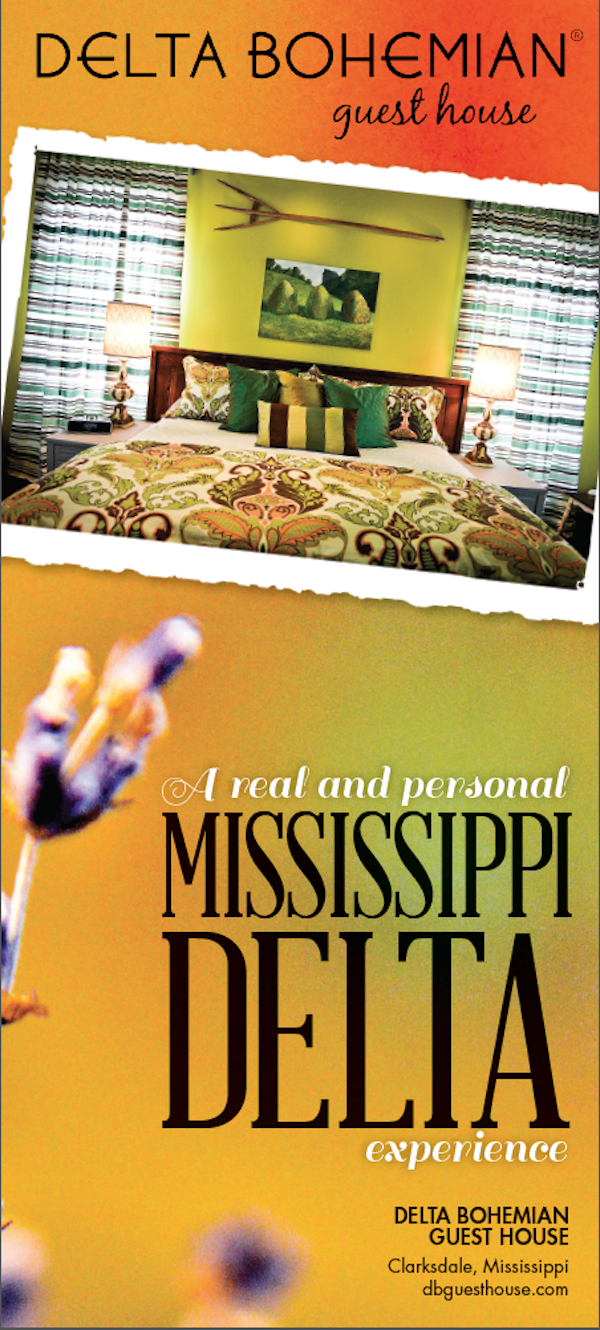 Delta Bohemian Guest House in Clarksdale - rack card front