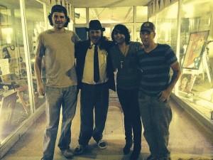 Musicians Josh McDowell, Steve Kolbus, Jaxx Nassar, Cade Moore in front of Bluesberry Cafe