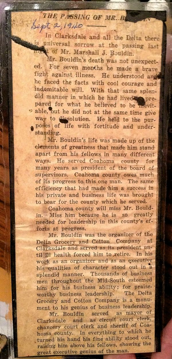 Newspaper clipping about death of Marshall Bouldin in 1940, prominent leader in Clarksdale and Coahoma County