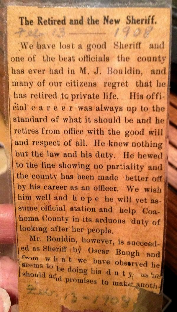 Newspaper clipping about Marshall Bouldin retirement as Sheriff of Coahoma County