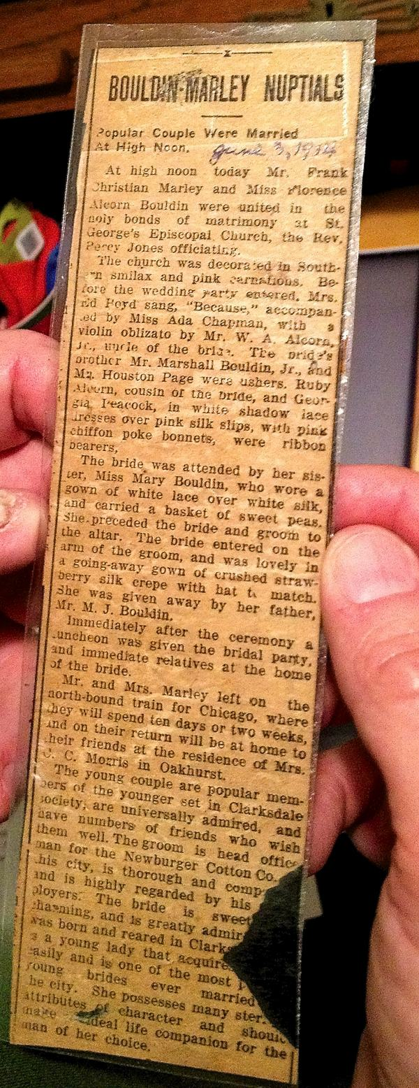 Newspaper clipping about nuptials of Frank Marley and Florence Bouldin in Clarksdale, Mississippi.