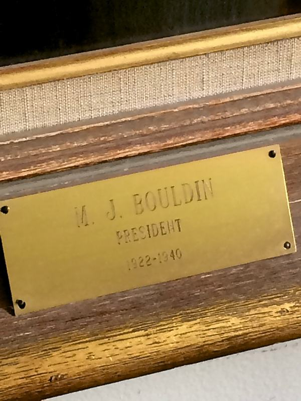 Plaque on frame of portrait by Marshall Bouldin III of his Grandfather Marshall Bouldin Sr. - M. J. Bouldin
