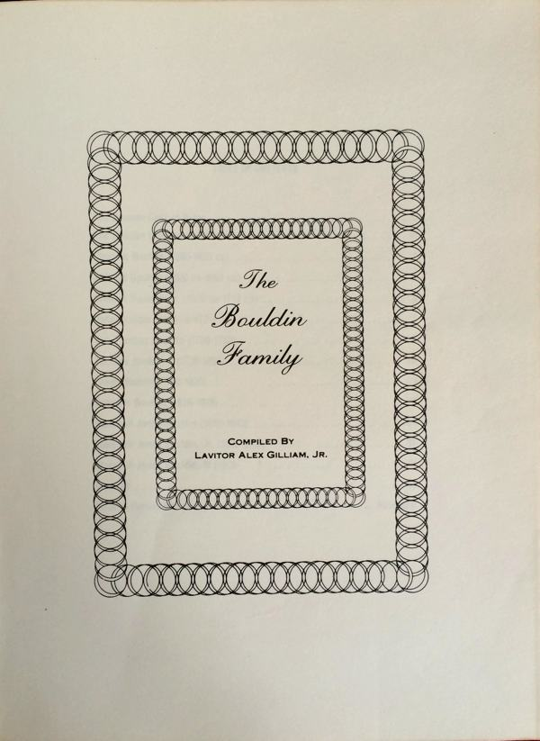 The Bouldin Family book title page