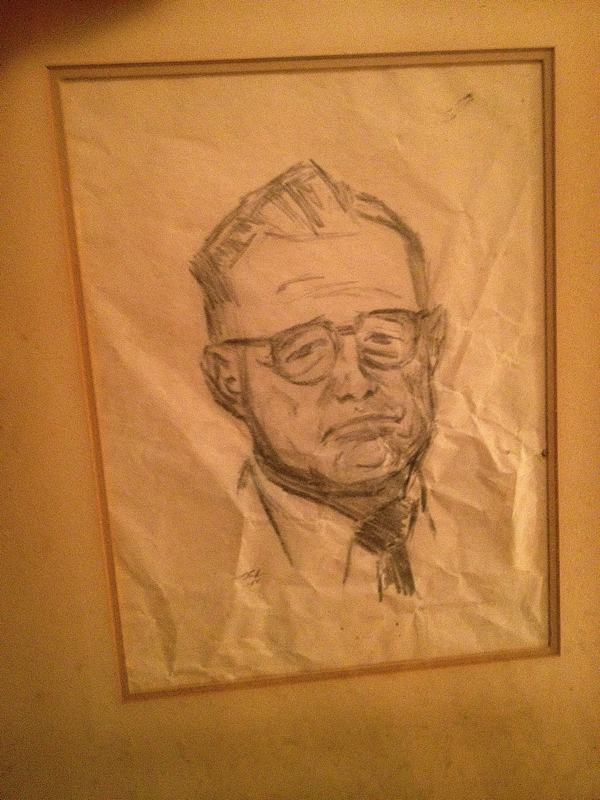 An early pencil sketch by artist Marshall Bouldin III of his father Marshall J. Bouldin, Jr., who was confused by his son's talent. Young Marshall retrieved the sketch out of the garbage can and held on to it unbeknownst to his father.