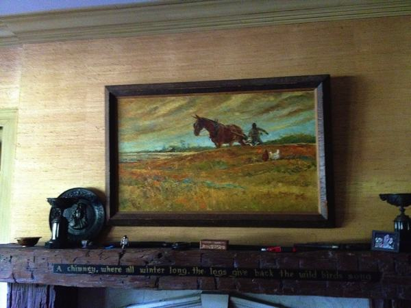 A beautiful landscape by Marshall Bouldin III hanging over his mantel in his home in Clarksdale.