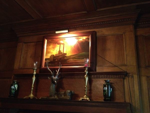 A painting of a showboat on the Mississippi River by Marshall Bouldin III hanging in his home in Clarksdale.