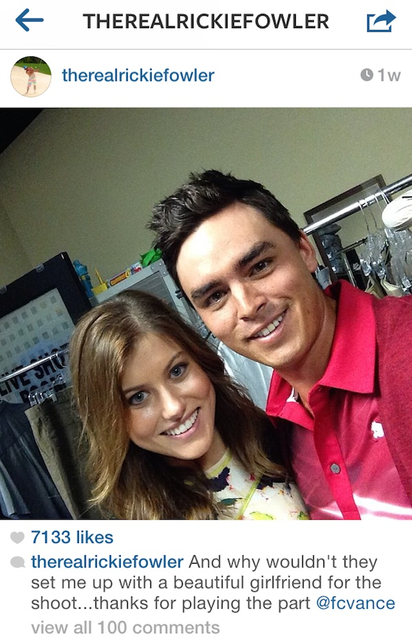 Rickie Fowler Instagrammed this selfie of us off-set on the Play 9 USGA/American Express commercial.