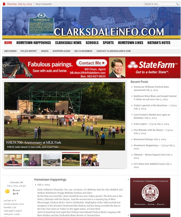 A screen capture of the home page for ClarksdaleInfo.com