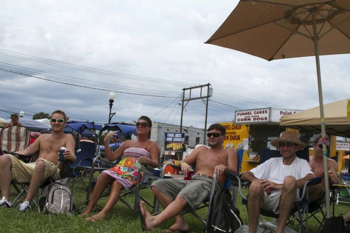 Sunflower River Blues Festival goers on the lawn in Clarksdale