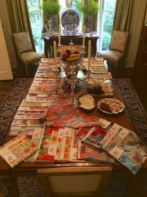 Kim Duease fabrics from Notable Accents on Mary Helen McCoy's dining room table.