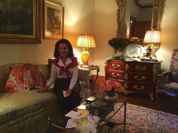Mary Helen McCoy in her Memphis home gallery during the Kim Duease Fabric Open House