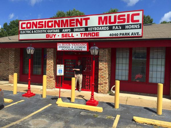 Owner Joe Nathan in front of his Consignment Music Store on Park in Memphis.