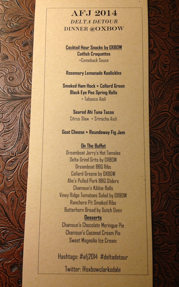 Menu for event at Oxbow Restaurant in Clarksdale for American Food Journalists