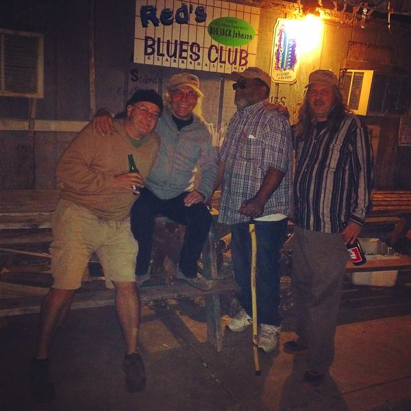 Poor William, Jean-Claude Droux, Red Paden, Steve Kolbus outside Red's Blues Lounge in Clarksdale