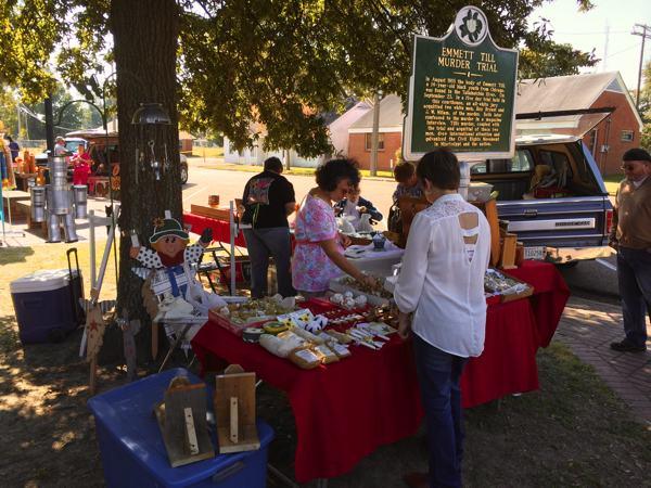 Flea Market during Sumner Harvest Festival - note Emmett Till marker