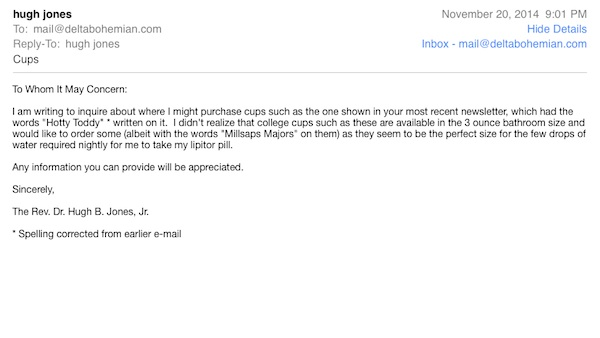 Email from Reverend Hugh B. Jones, Jr.