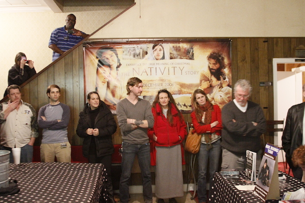 Attendees at 2nd annual Clarksdale Film Festival in Delta Cinema Lobby. Jan 2012