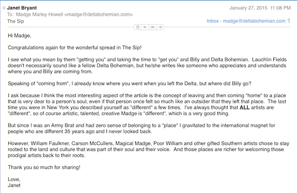 Email Magical Madge received from her best friend from college at University of Texas who lives in New York City