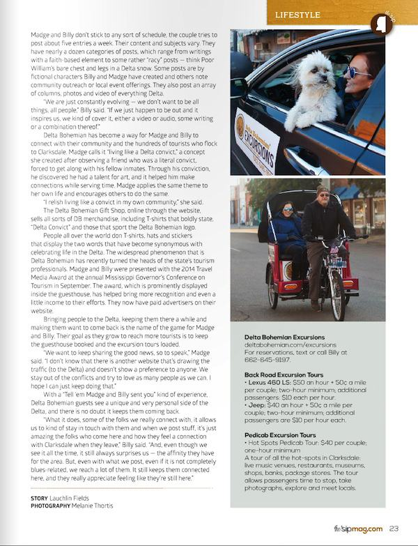 Page Four of article about the Delta Bohemian in Winter 2015 edition of the 'sip magazine