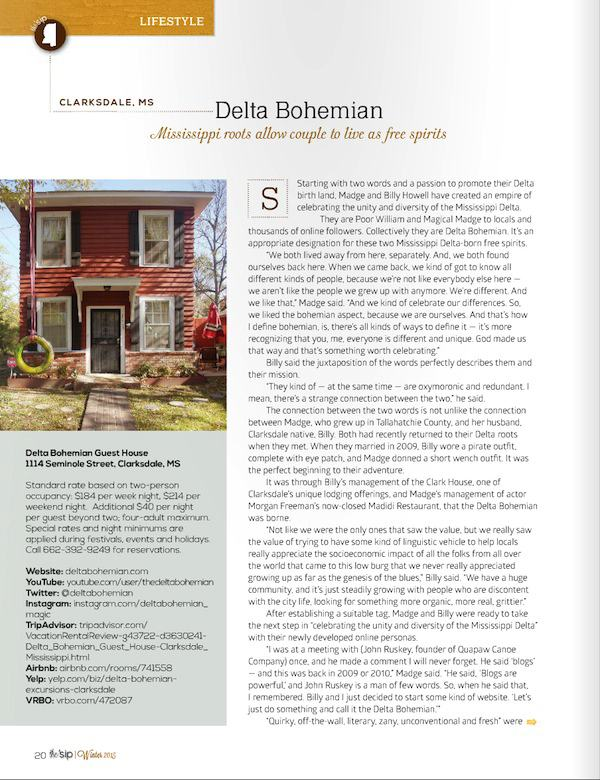 Page One of article about the Delta Bohemian in Winter 2015 edition of the 'sip magazine