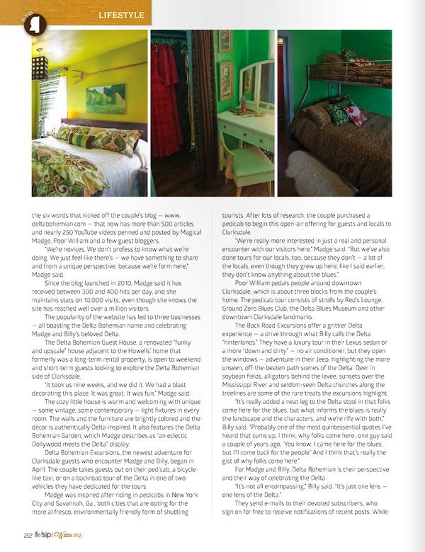 Page Three of article about the Delta Bohemian in Winter 2015 edition of the 'sip magazine