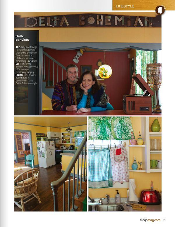 Page Two of article about the Delta Bohemian in Winter 2015 edition of the 'sip magazine