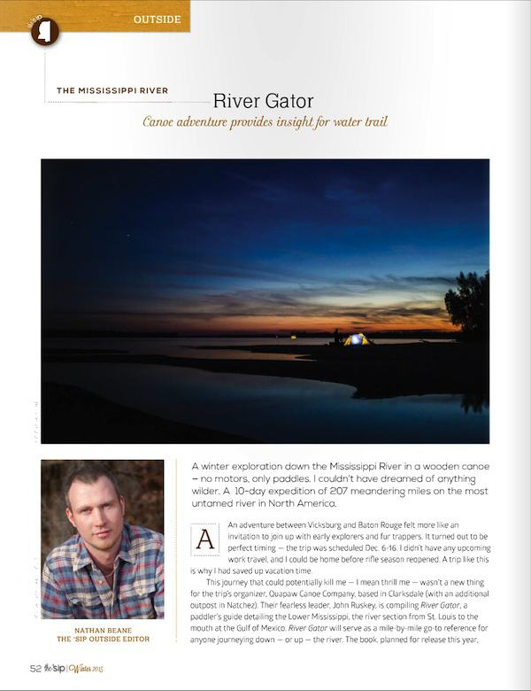 Page One of article about River Gator in Winter 2015 edition of the 'sip magazine