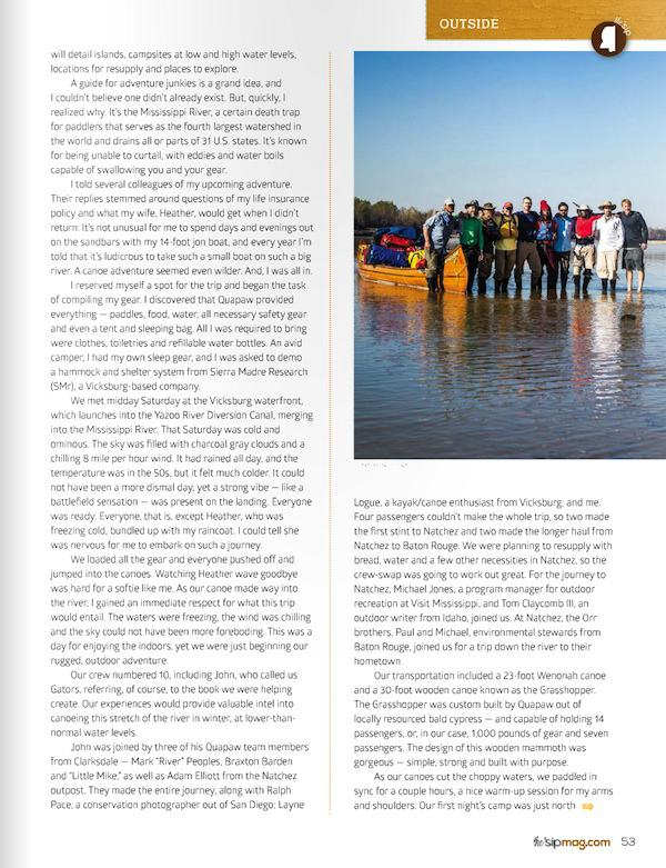 Page Two of article about River Gator in Winter 2015 edition of the 'sip magazine