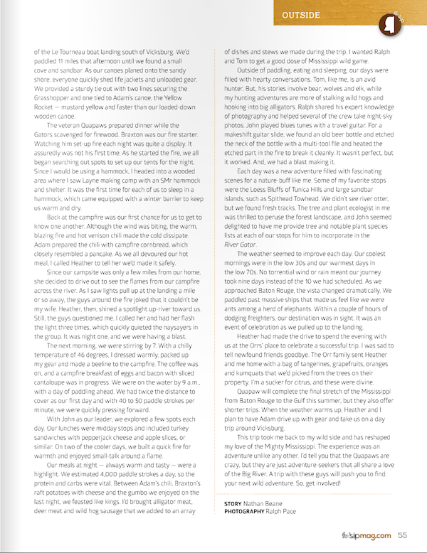 Page Four of article about River Gator in Winter 2015 edition of the 'sip magazine