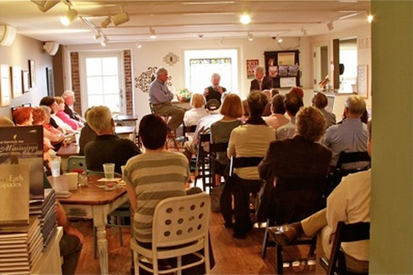 Best selling author and Mississippian Curtis Wilkie talks to crowd upstairs at Turnrow Book Company in Greenwood 2011