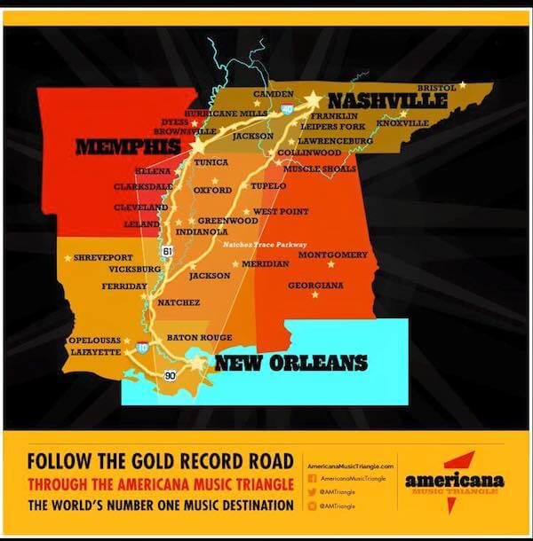 Follow the gold record road through the Americana Music Triangle - The World's Number One Music Destination