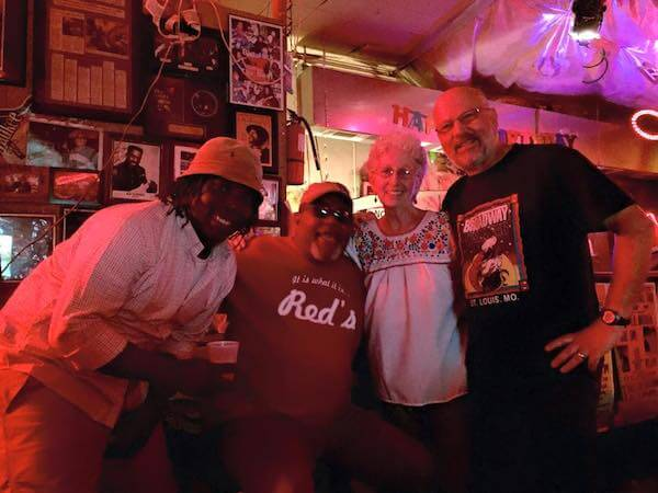Mark River Peoples, Red Paden and two visitors at Red's Lounge in Clarksdale. May 2015