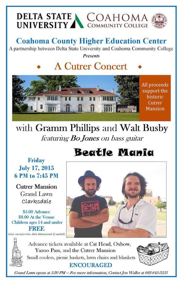 Beatle Mania concert poster on the Grand Lawn at the Cutrer Mansion