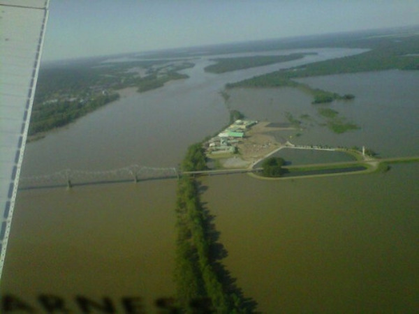 Flooded Mississippi River, Isle of Capri Casino, & Helena Bridge. Lula, MS May 5th, 2011 ..This is twenty miles from my house. Photo by Piper-at-the-gates
