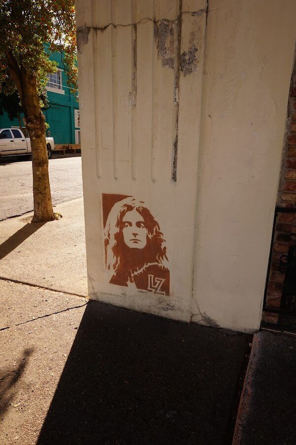 Street art of Robert Plant on Delta Avenue in Clarksdale. Photo by Andrea Vlonk