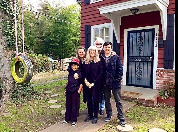 Bill Bowker with his family during their stay at the Delta Bohemian Guest House in Clarksdale