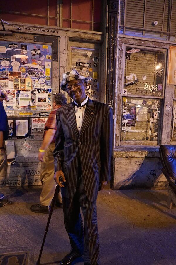 "Mr. Josh ""Razorblade"" Stewart outside Ground Zero Blues Club in Clarksdale. Photo by Andrea Vlonk"