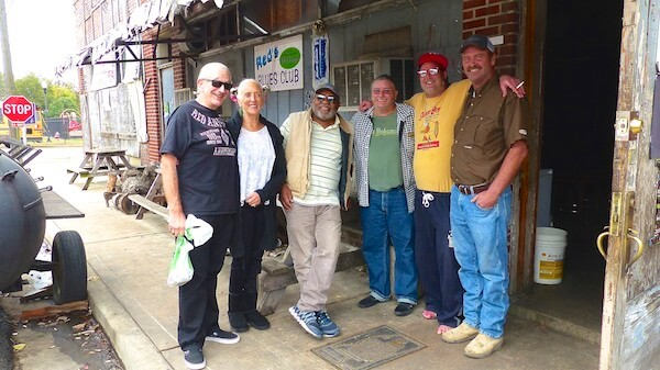 Charlie and Henrietta Musselwhite, Red Paden, Billy Howell, Matt Rock, Daniel Taylor in front of Red's Blues Club in Clarksdale