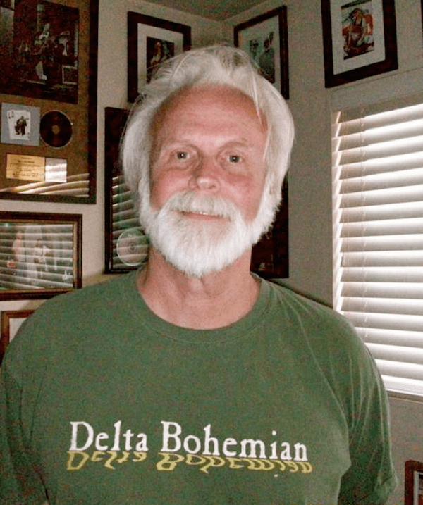 Bill Bowker sporting his Delta Bohemian First Edition T-shirt