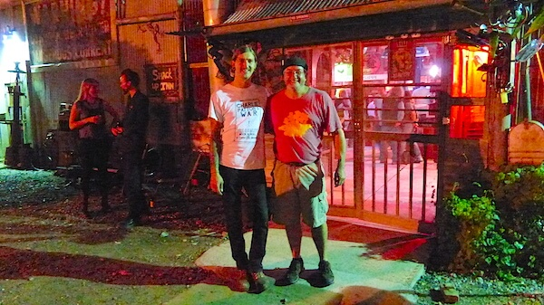 Artist Joey Young and Poor William outside Juke Joint Chapel at Rust at Shack Up Inn