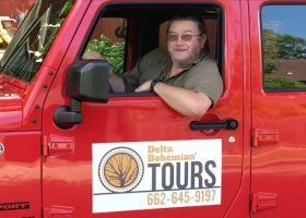 Poor William in his Delta Bohemian Tours Love Jeep