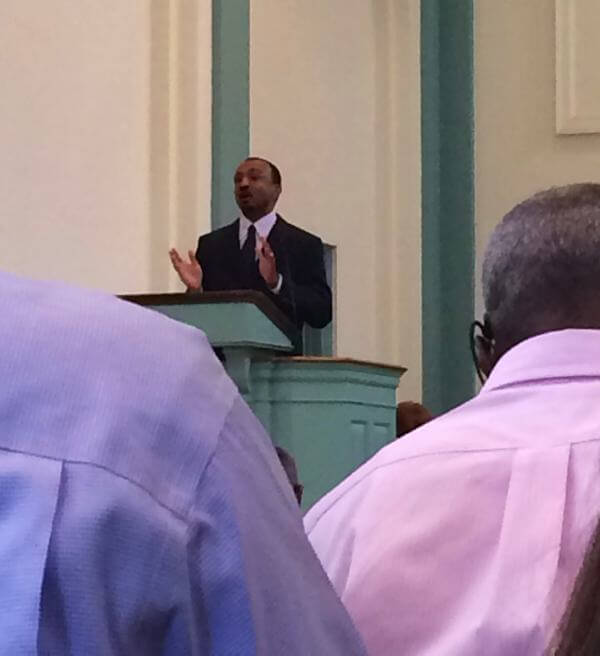 Associate Pastor Mark Webb delivering a sermon at First Presbyterian Church in Clarksdale, Mississippi