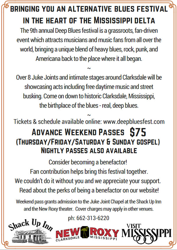 Information on DEEP BLUES FESTIVAL 2016 in Clarksdale, Mississippi.